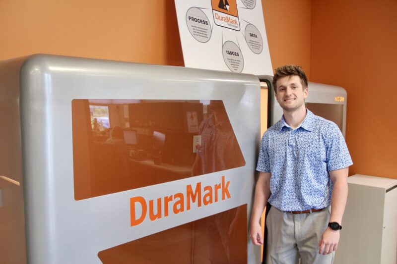 Sales and Sales Management senior Carter Cates poses for a picture during his summer internship at DuraMark in Westfield, Indiana.