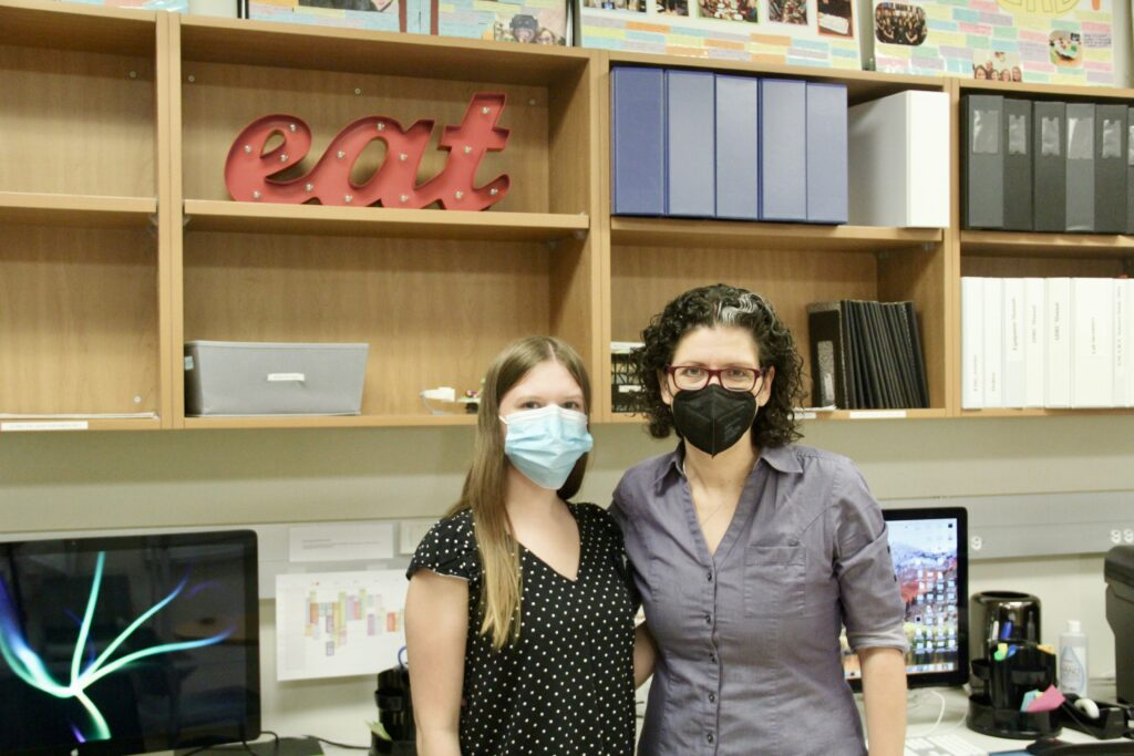 Jennine Bryan and Sharon Malandraki pose for a picture in the I-EaT Lab.