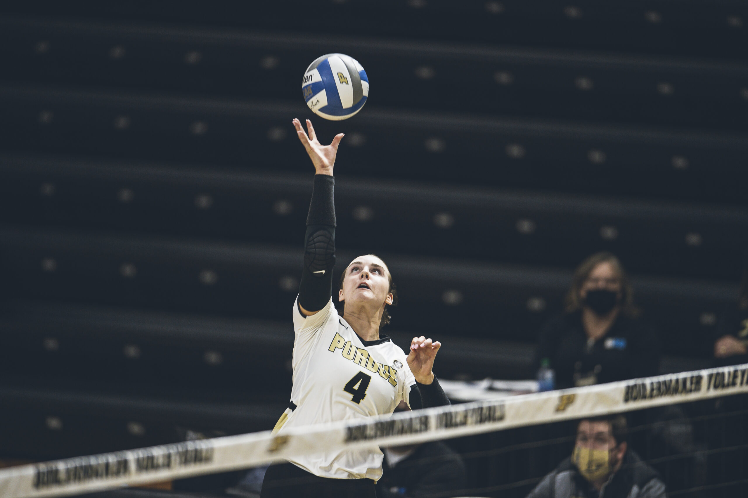 Caitlyn Newton goes up for a dink during a recent match.
