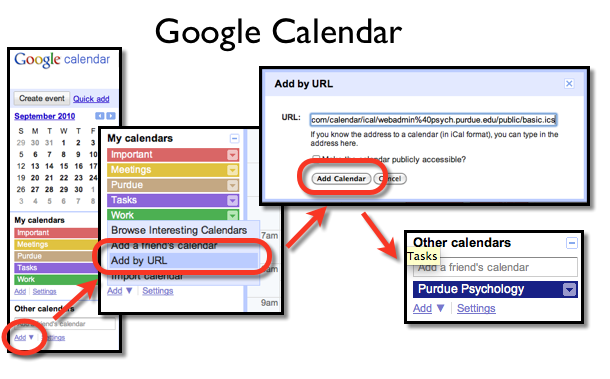 Diagram showing how to add Google Calendar