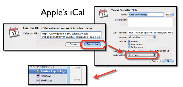 Diagram showing how to add Apple's iCal
