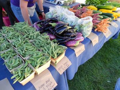 Display of vegetables at market