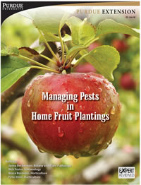 "Cover photo of the Purdue Extension publication ""Managing Pests in Home Fruit Plantings (Bulletin ID-146)""."