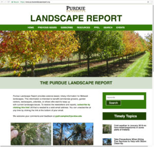 Partial screen shot of the Purdue Landscape Report web page