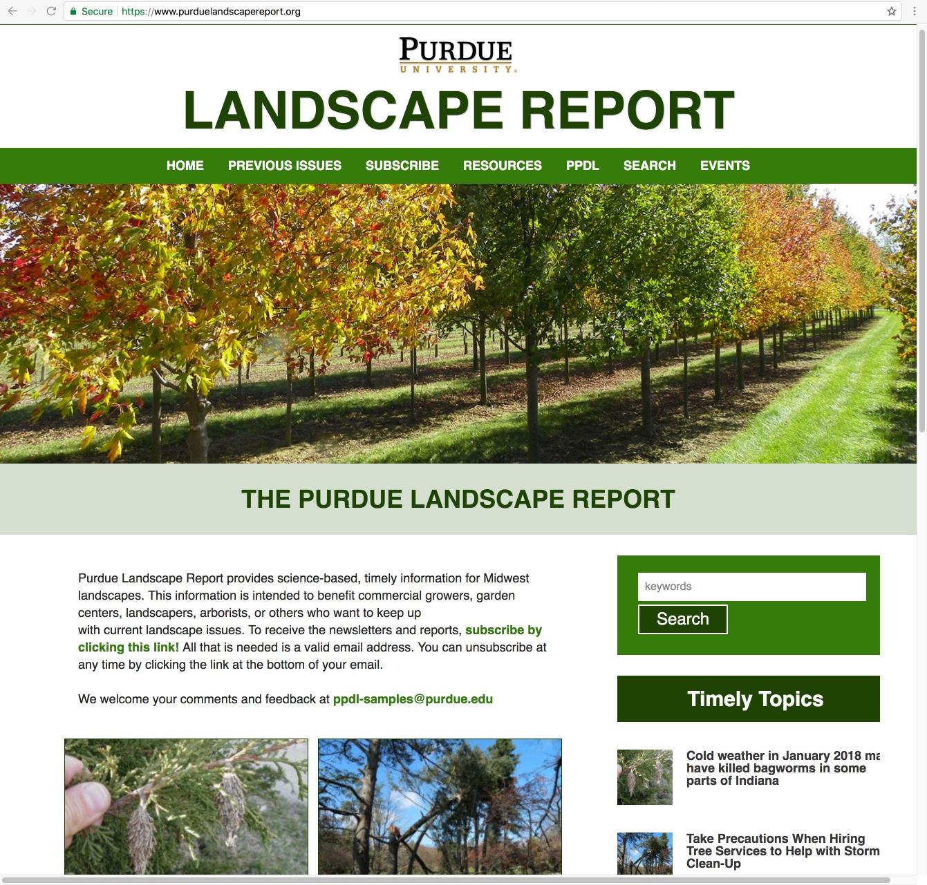 Partial Screen Shot Of The Purdue Landscape Report Web Page