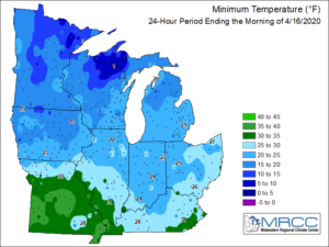 Colored regional map showing the low temperature over the 24-hour period ending the morning of April 16, 2020. The different colors indicate the temperatures in 10 degree increments. There are 7 different temperature zones represented on this map.