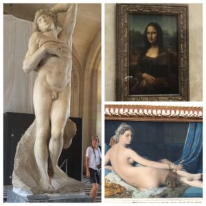 "left: Michelangelo, top right: Da Vinci, bottom right: Ingres ""La Grande Odalisque"""