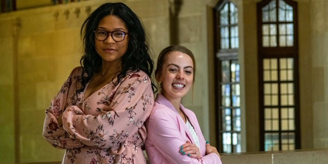 Photo of two female Purdue students.