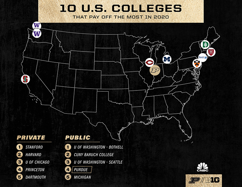Map of 10 U.S. Colleges that pay off the most in 2020