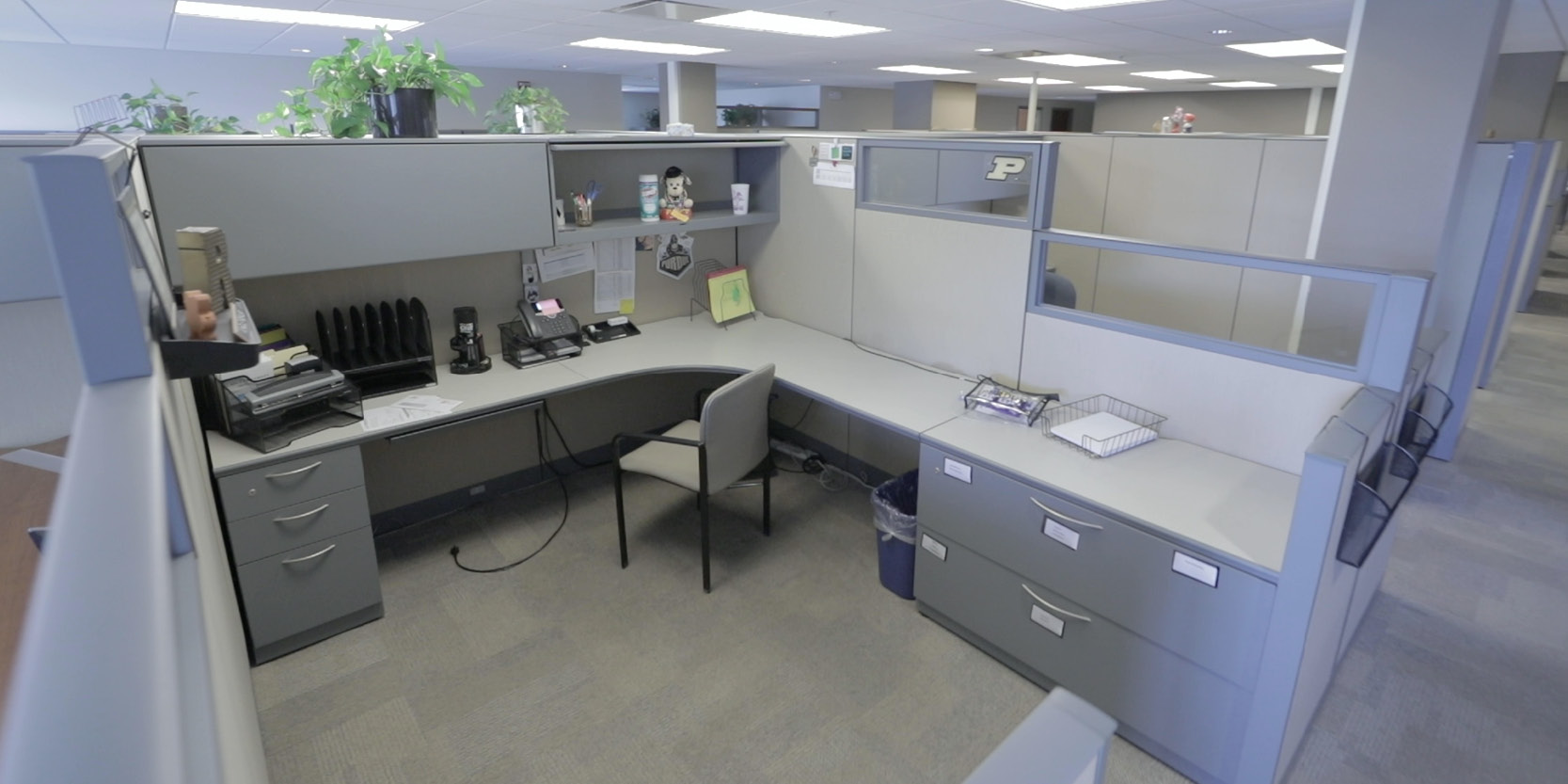 Office spaces such as this cubicle in Hovde Hall have largely sat empty since March 2020.