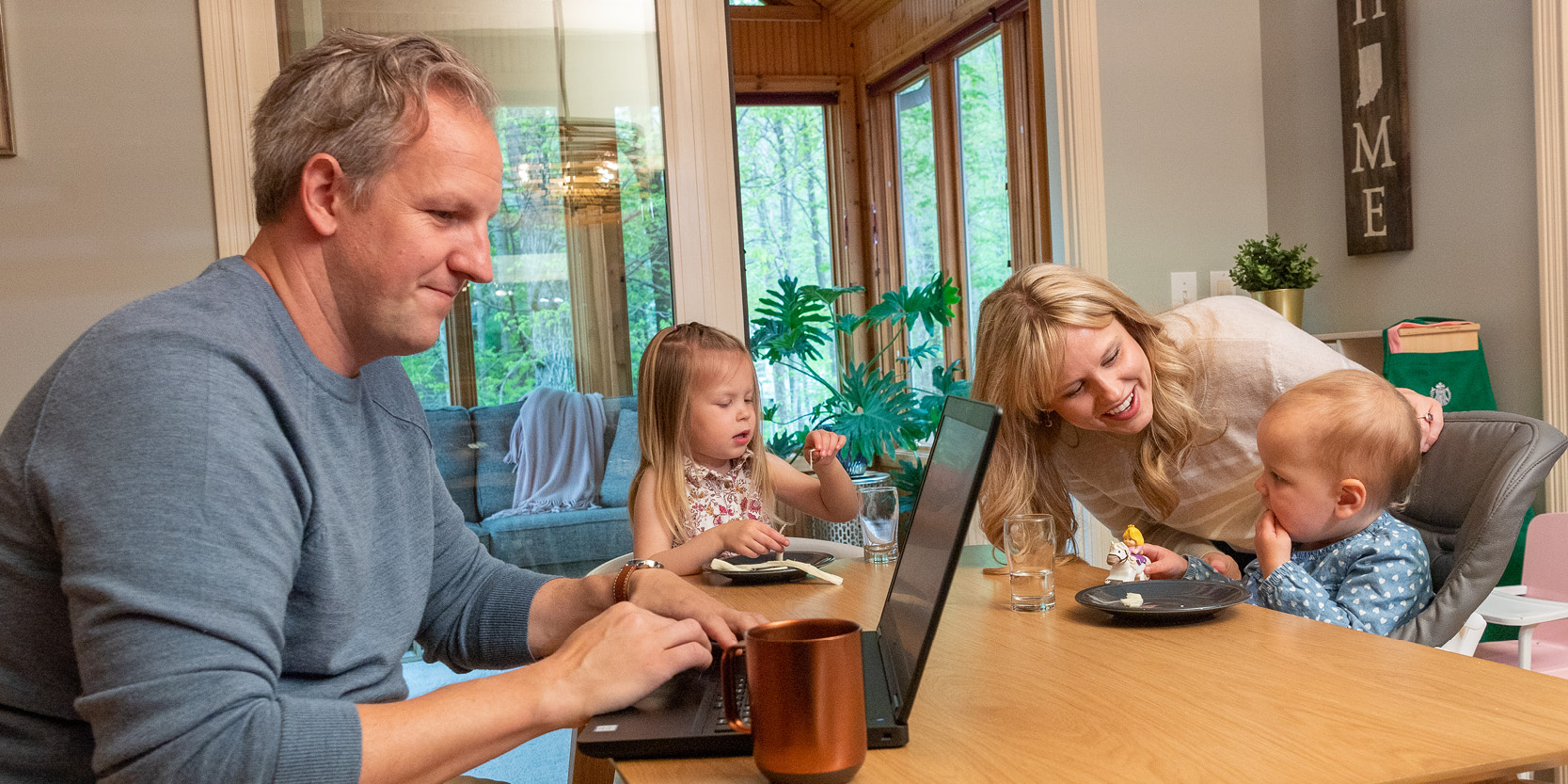 Purdue College of Liberal Arts advisor Josh Dexter-Wiens typically looked after daughters Luca and Remy during the day while wife Johnna managed Protect Purdue communications efforts, then caught up on his advising work in the evenings.
