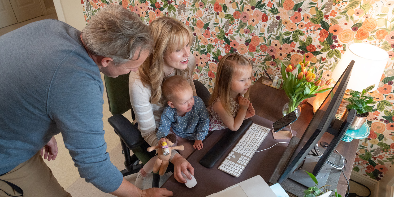 Purdue employees Johnna and Josh Dexter-Wiens have worked remotely during the COVID-19 pandemic while also caring for their young daughters, Luca and Remy.