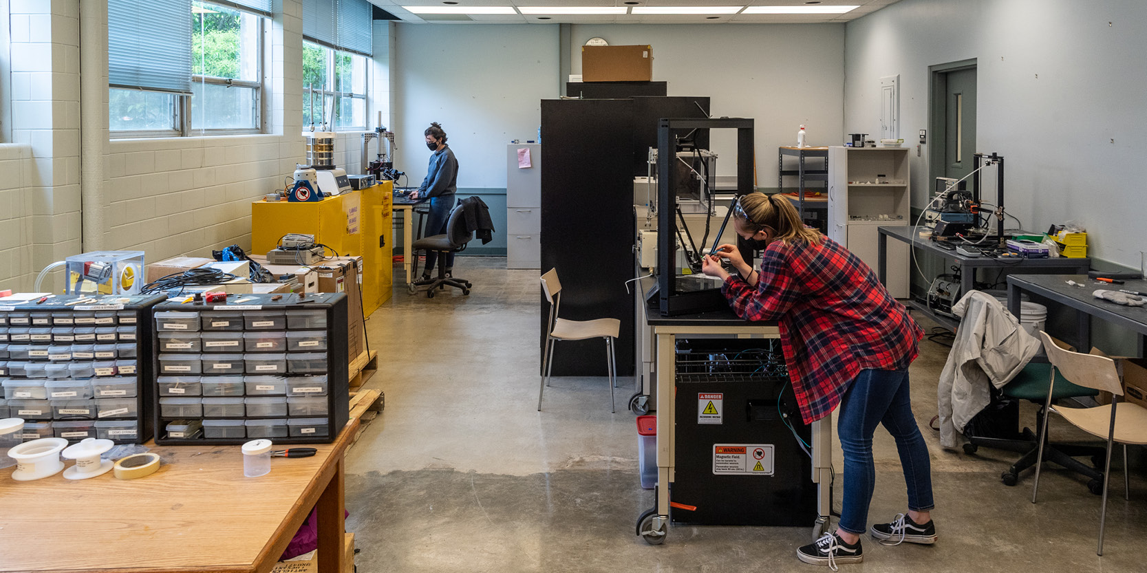 Several years ago, Ray W. Herrick Laboratories converted 17 of the 31 offices in the original Herrick building into research space, providing 3,341 additional square feet for mechanical engineering projects.