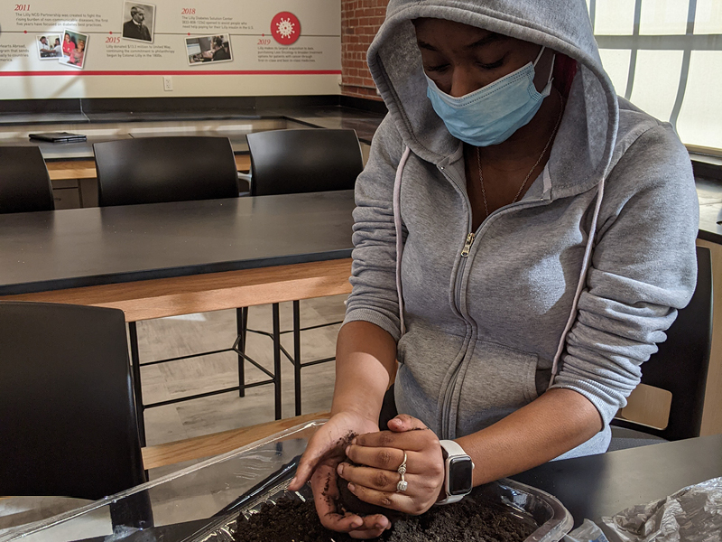 PPHS student Iyana Walker works on an urban agricultural project. (Purdue University photo)