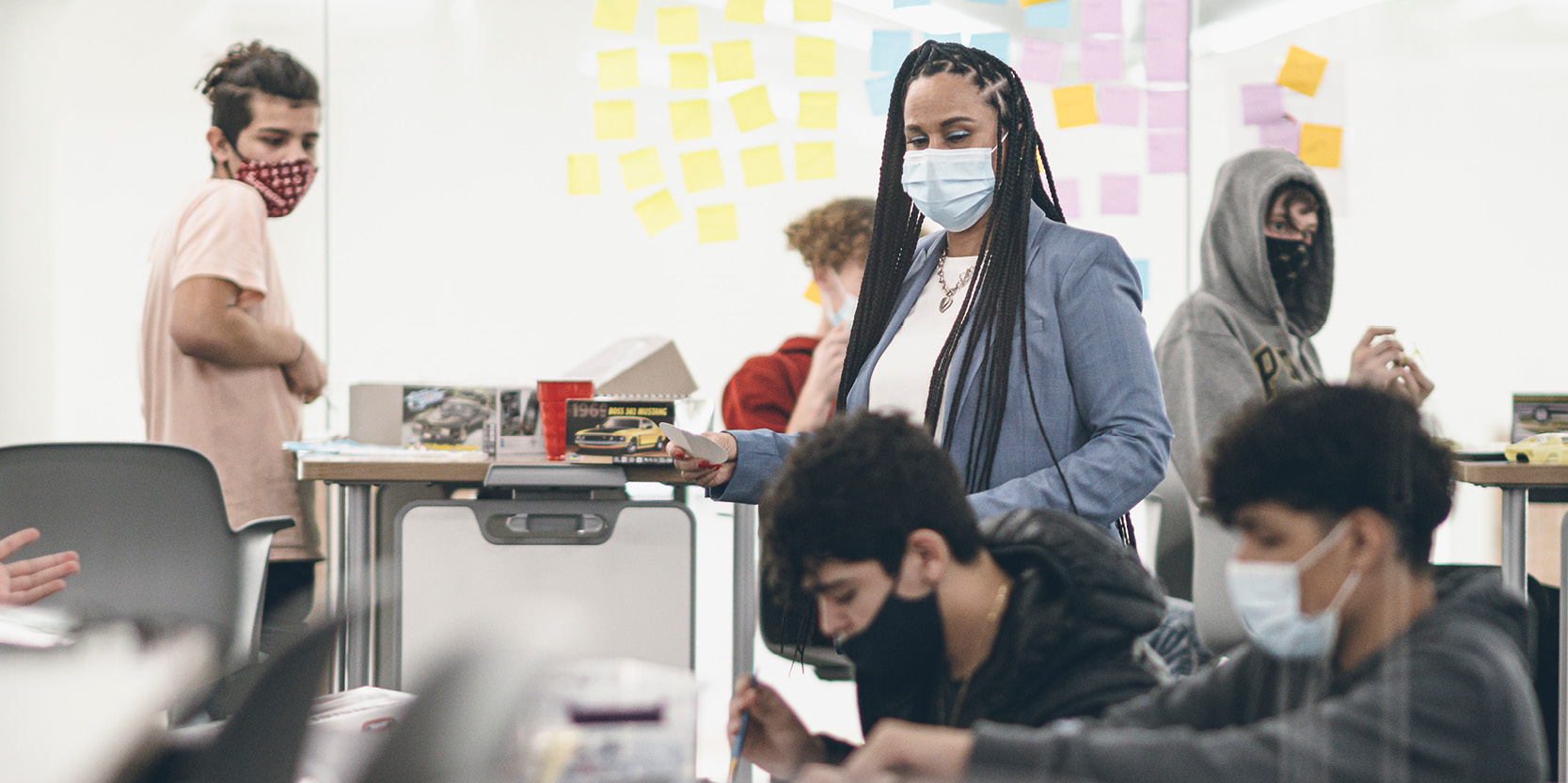 PPHS South Bend Principal Bibi Hardrict oversees progress on a student-directed project, a benefit of small class sizes. (Purdue University photo/Charles Jischke)