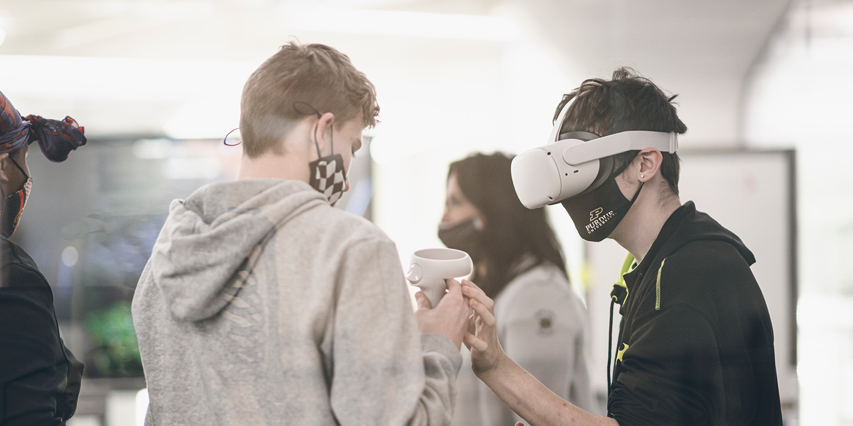Purdue Polytechnic High School students experiment with virtual reality technology, a part of the project-based learning curriculum. (Purdue University photo/Charles Jischke)