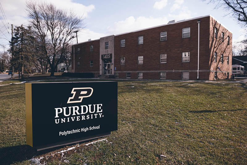 Purdue Polytechnic High School North, 1405 Broad Ripple Ave. in Indianapolis. The STEM-focused high school has 140 students who are innovating and collaborating in new ways during their high school experience.