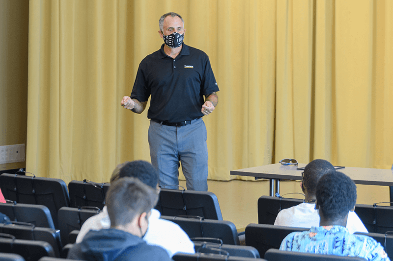 Scott Bess, head of schools for Purdue Polytechnic High Schools, talks to PPHS students during a summer program at Purdue University's West Lafayette campus.