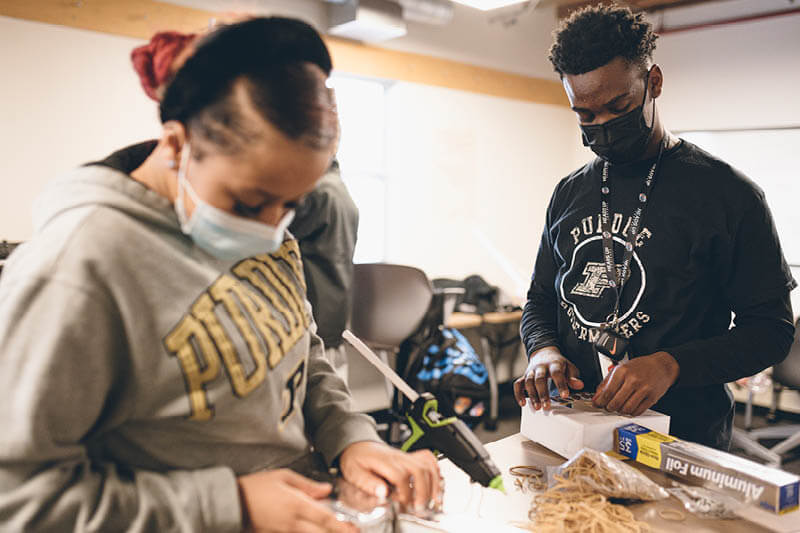 Purdue Polytechnic High School North students collaborate building prototypes for a passion project, a six-week long, interest-based effort into which students elect. The school's North campus is in Indianapolis' Broad Ripple neighborhood.