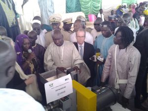 Unveiling of small-scale extruder at ceremony in Incubation Center for entrepreneurs in Touba, Senegal