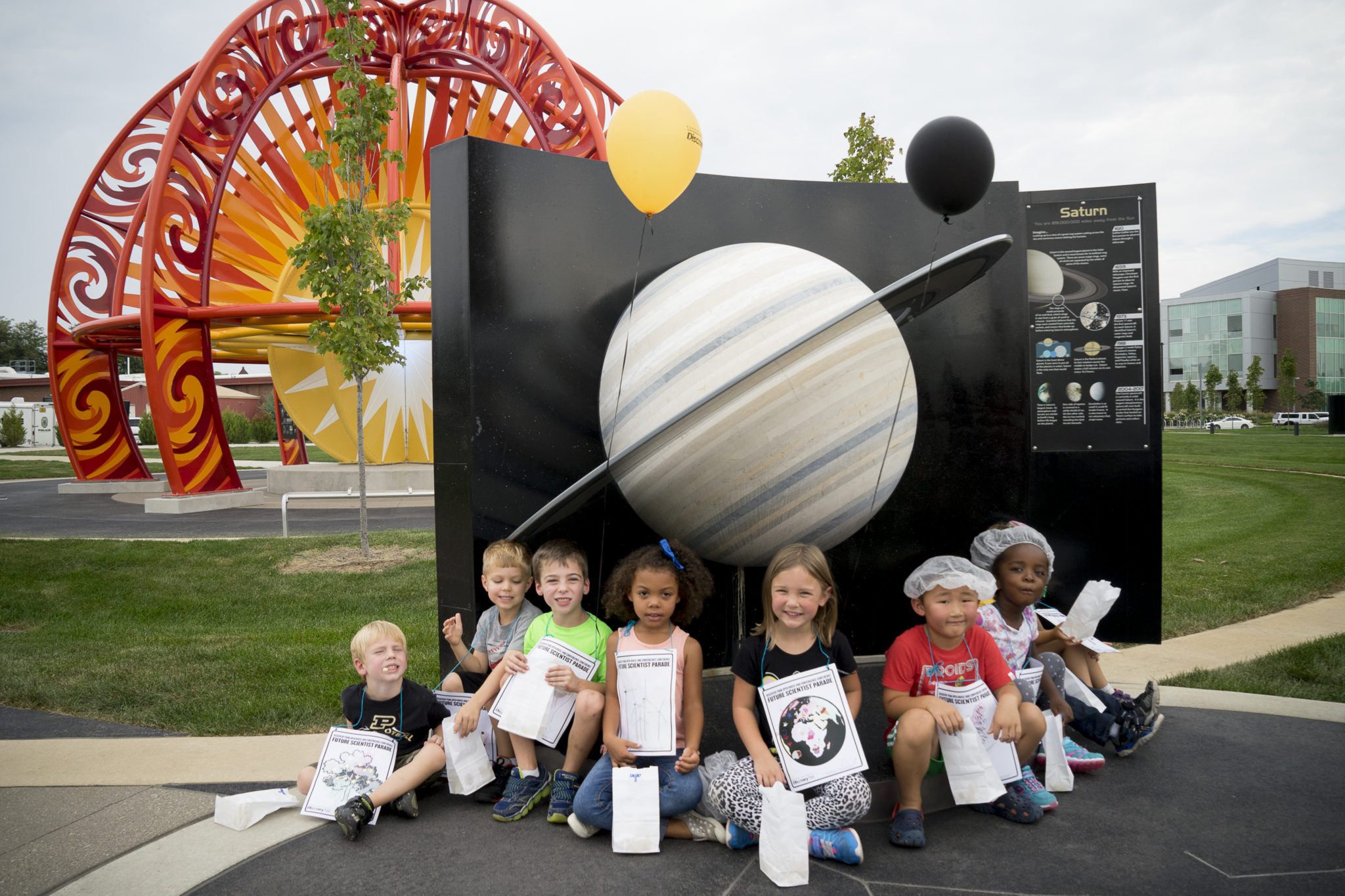 Preschoolers at VOSS (Visit Our Solar System) exhibit