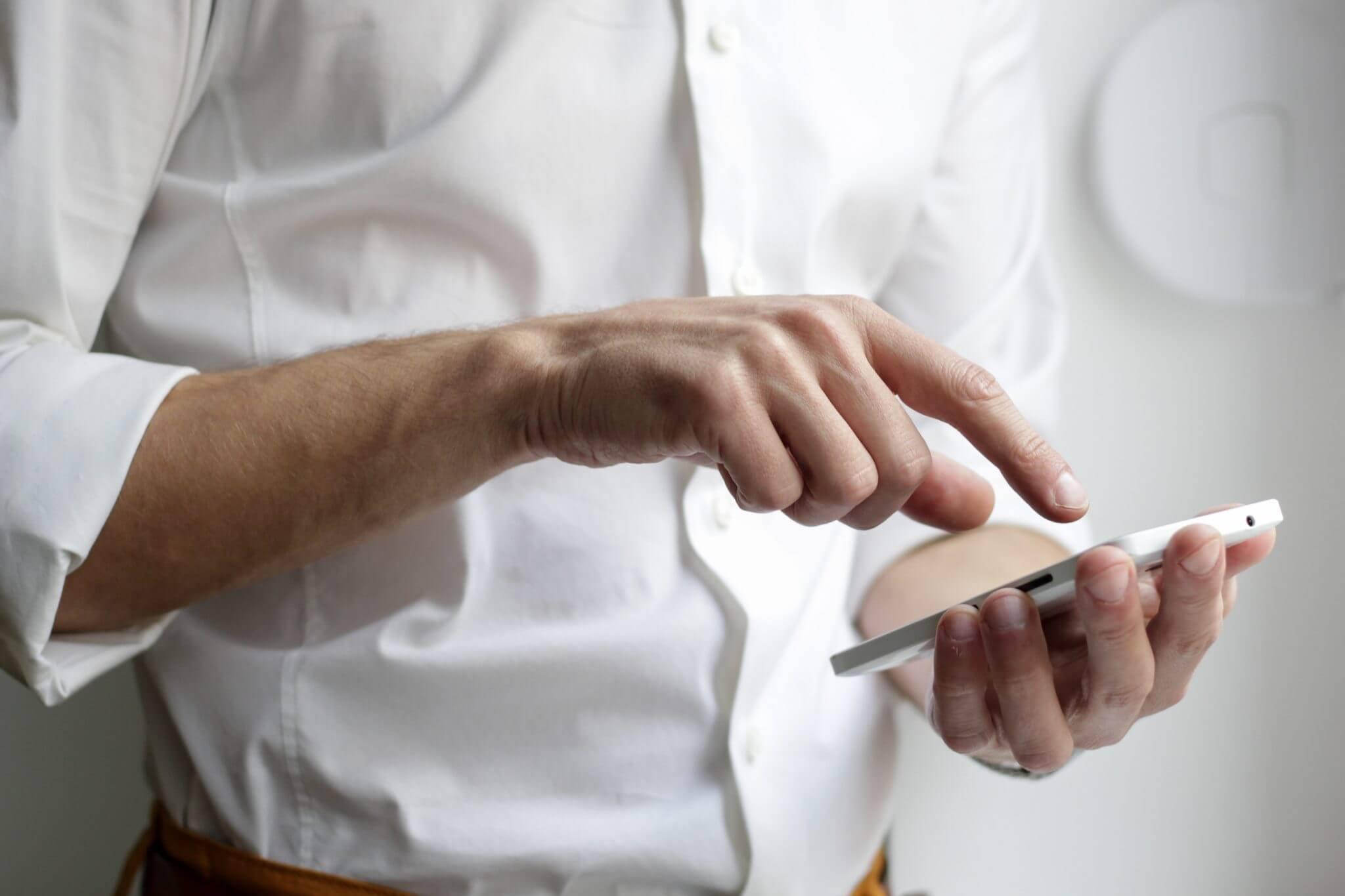 fingers on phone