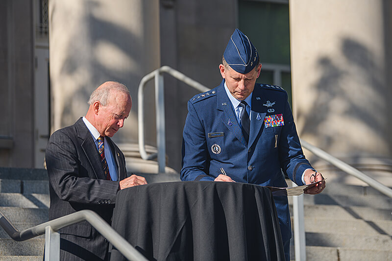 """Purdue President Mitch Daniels and Gen. David D. """"DT"""" Thompson, vice chief of space operations for the U.S. Space Force"""