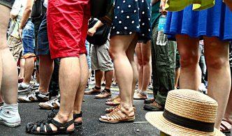 People's legs in line