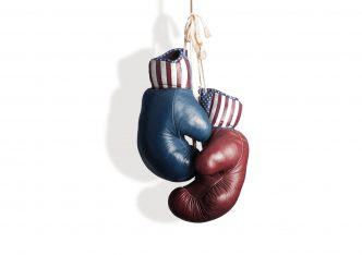Boxing gloves in red, white and blue