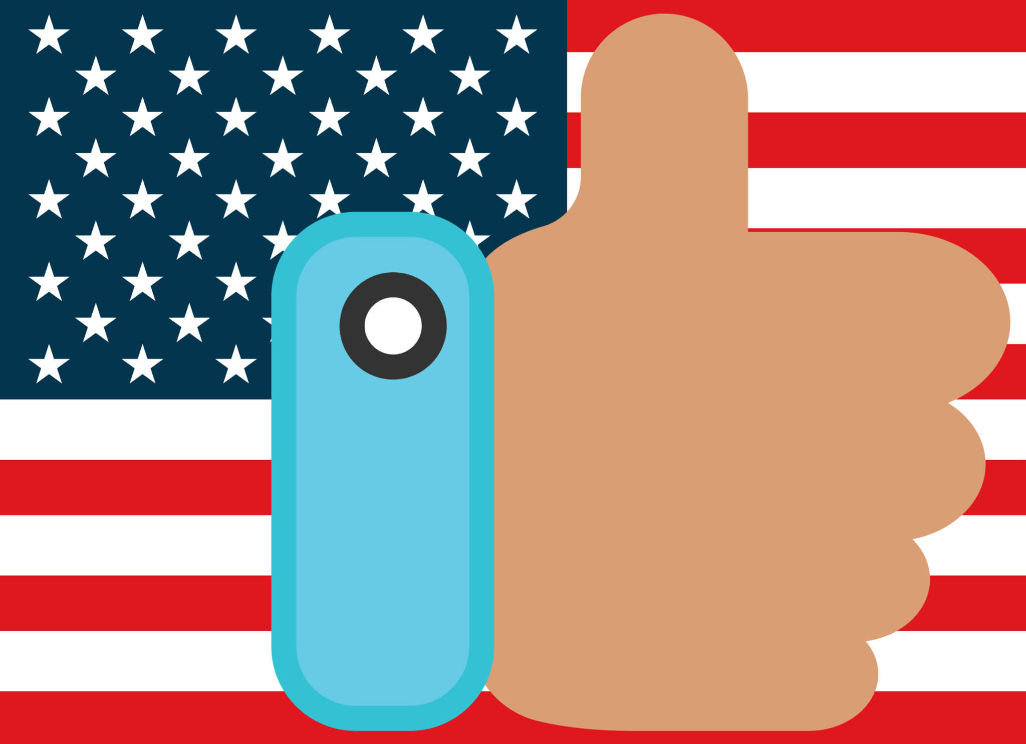 American flag in background with hand in foreground with thumb up