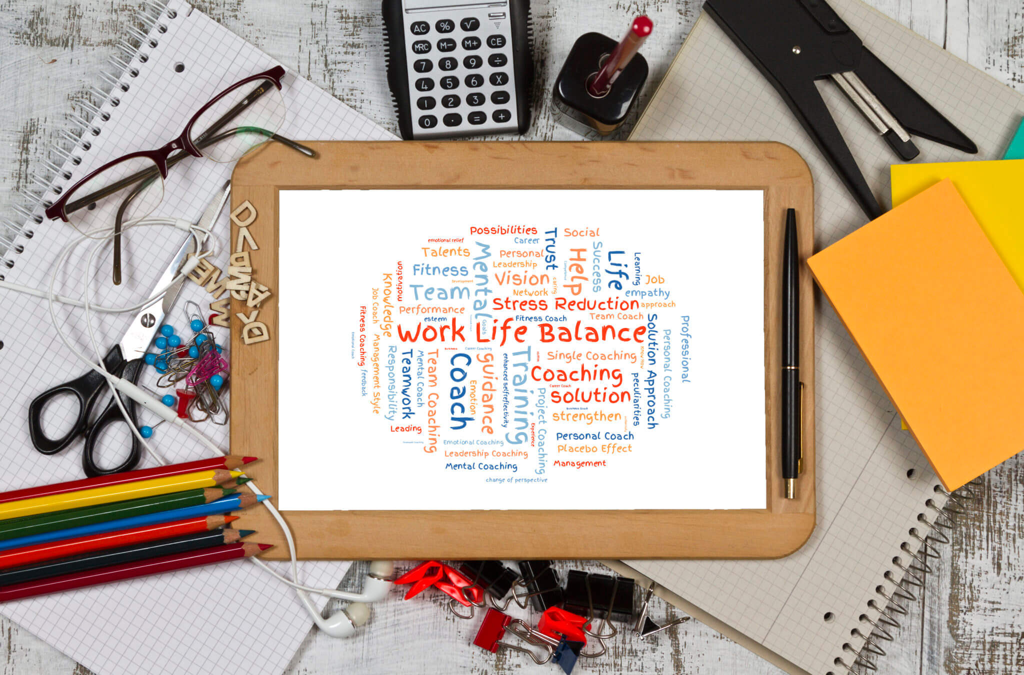Work life Balance word cloud shaped as a circle concept