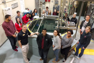 students touring nuclear reactor