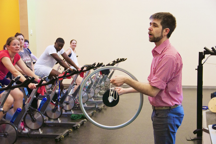 Physics demo in a spin class