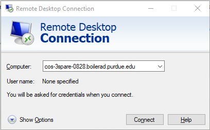 Remote Desktop Connection dialog box.