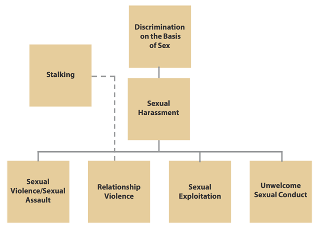 The reportable offenses are the following: Discrimination on the Basis of Sex, Sexual Harassment, Sexual Violence/ Sexual Assault, Relationship Violence, Sexual Exploitation, Unwelcome Sexual Conduct, and Stalking