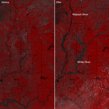 Satellite images show widespread flooding along the Wabash River