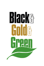 The Black and Gold and Green logo for Green Week