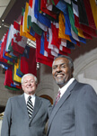 World Food Prize winners Philip Nelson, at left, and Gebisa Ejeta.