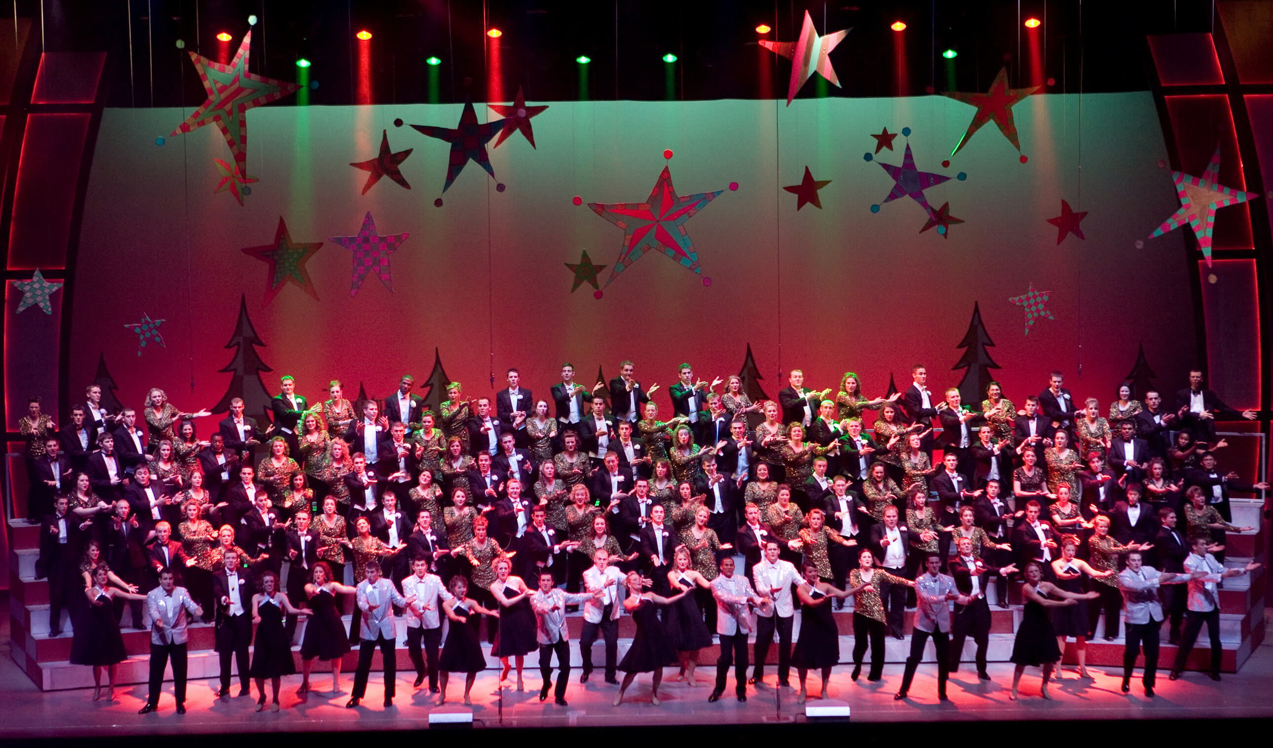 the full cast takes to the stage in last years pmo christmas show purdue musical organizations file photo