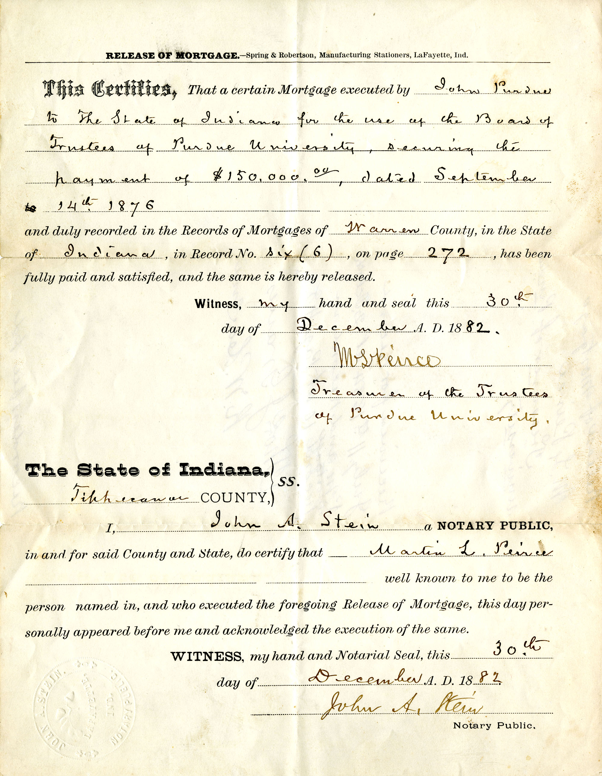 John Purdue document to be presented during pep rally