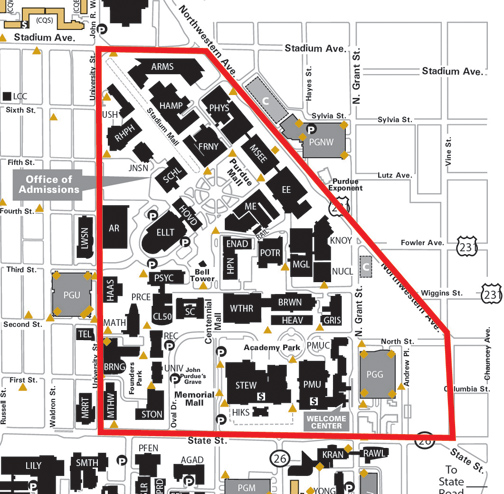 map of purdue campus New Two Hour University Vehicle Parking Limit In North Academic map of purdue campus