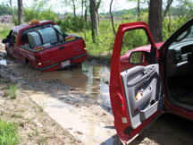 vehicle stuck in mud