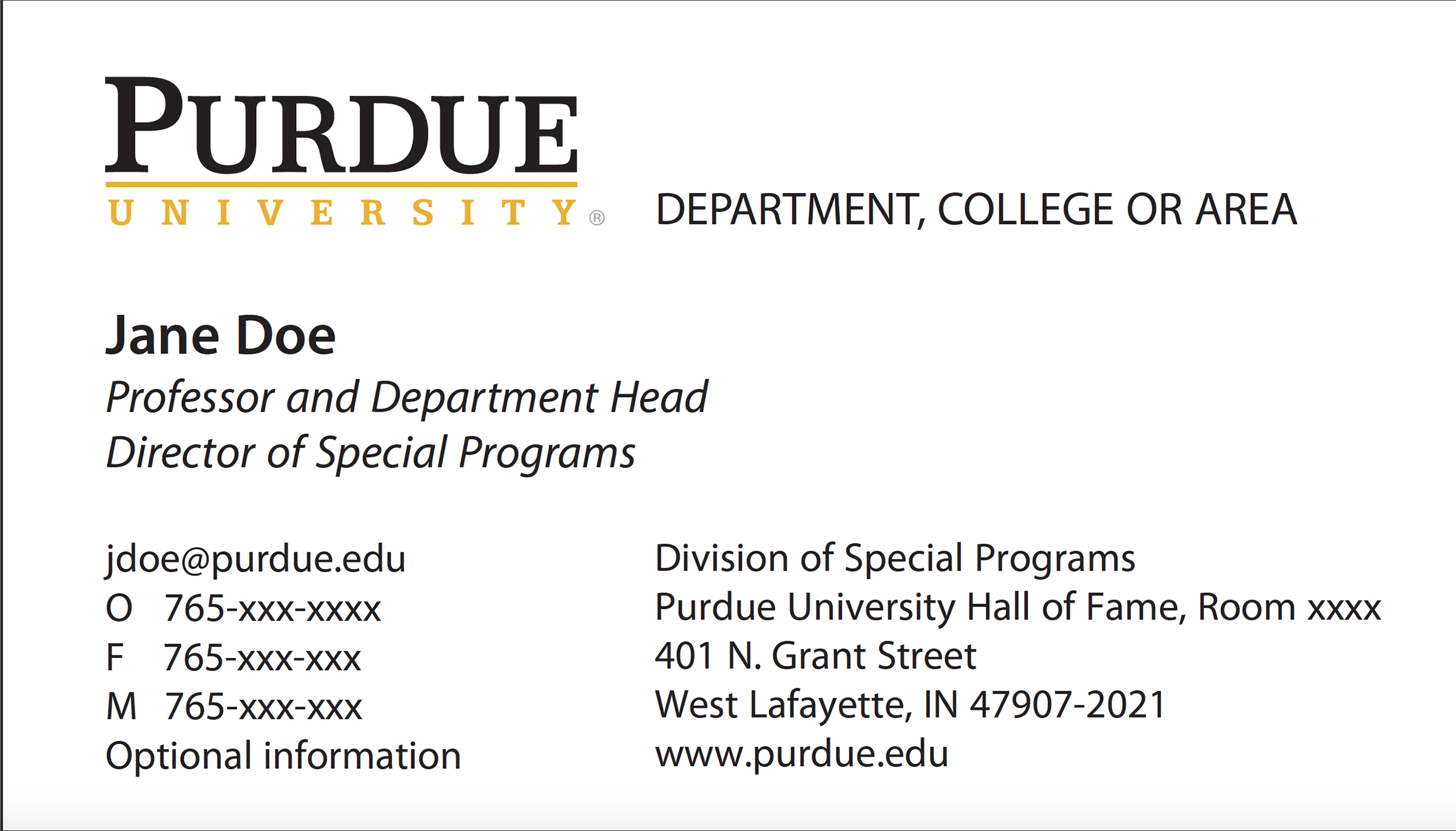 New business card template now online purdue university purdues new standard business card layout fbccfo Gallery