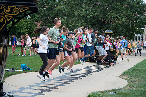 Freshmen crossing the tracks tradition