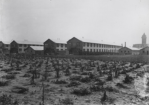 Temporary military barracks on the north side of campus