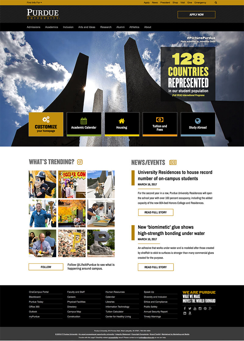 Revamped Purdue home page includes new tile layout and photo banner ...