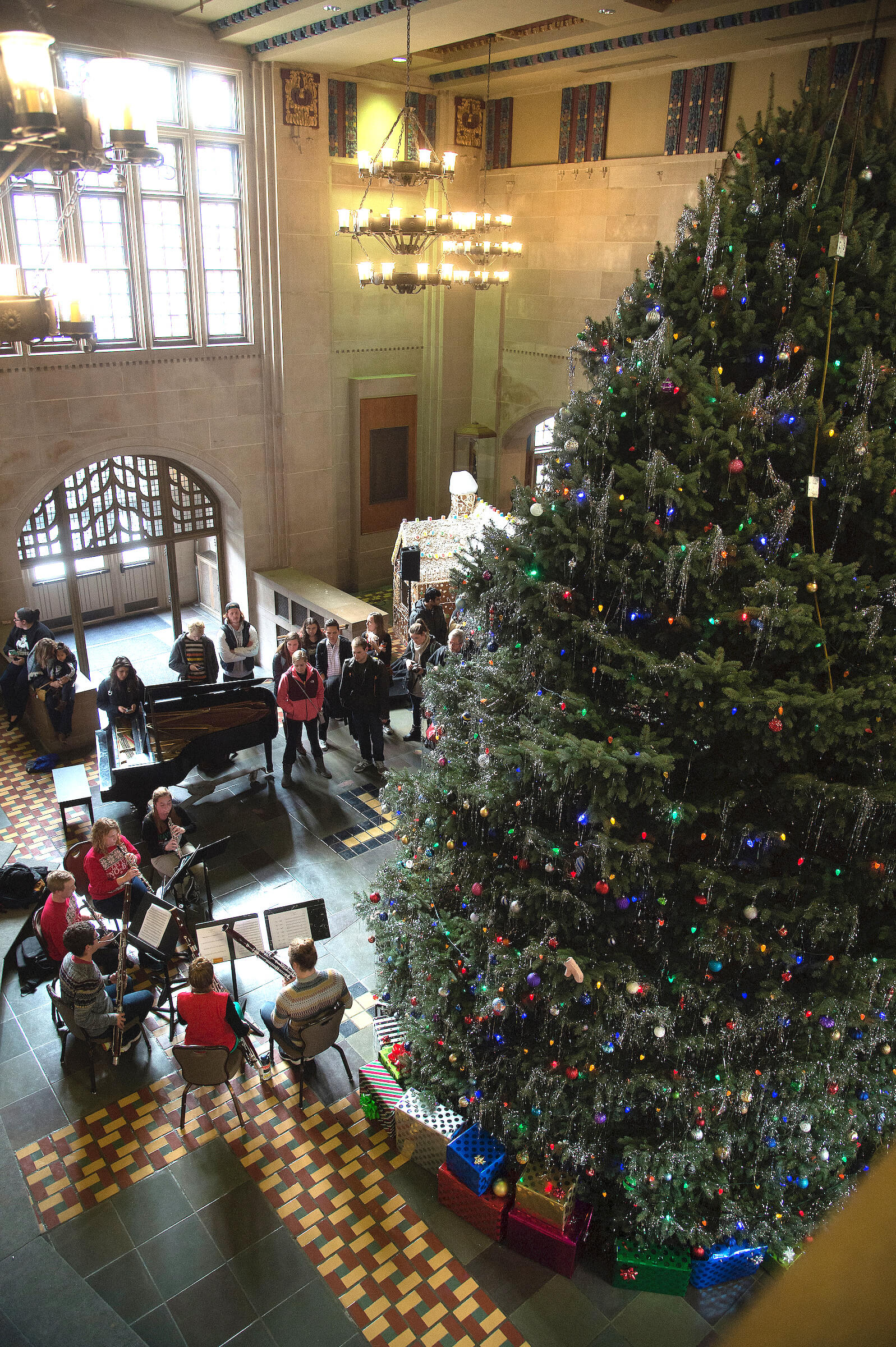 the purdue memorial union will send the holiday season into high gear on monday dec 4 as the 30 foot tall christmas tree arrives in the great hall around
