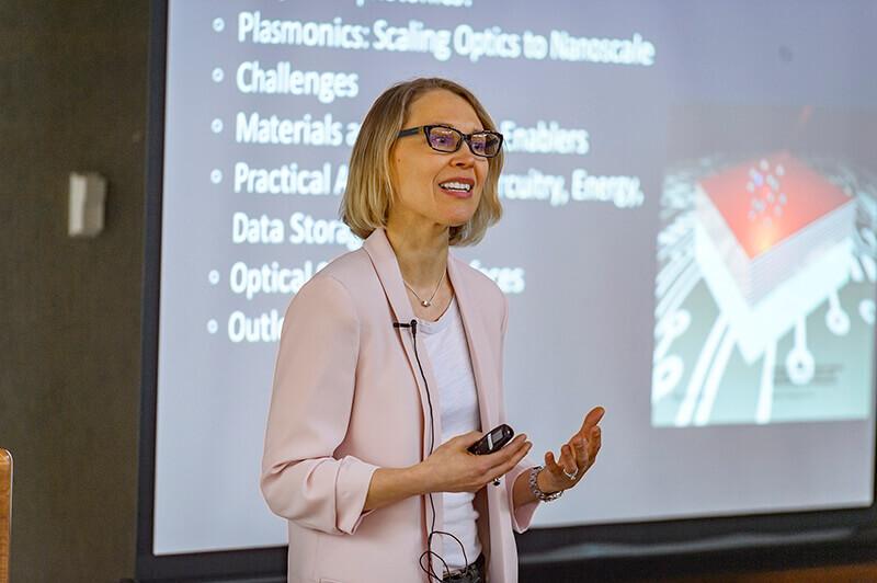 Alexandra Boltasseva giving presentation