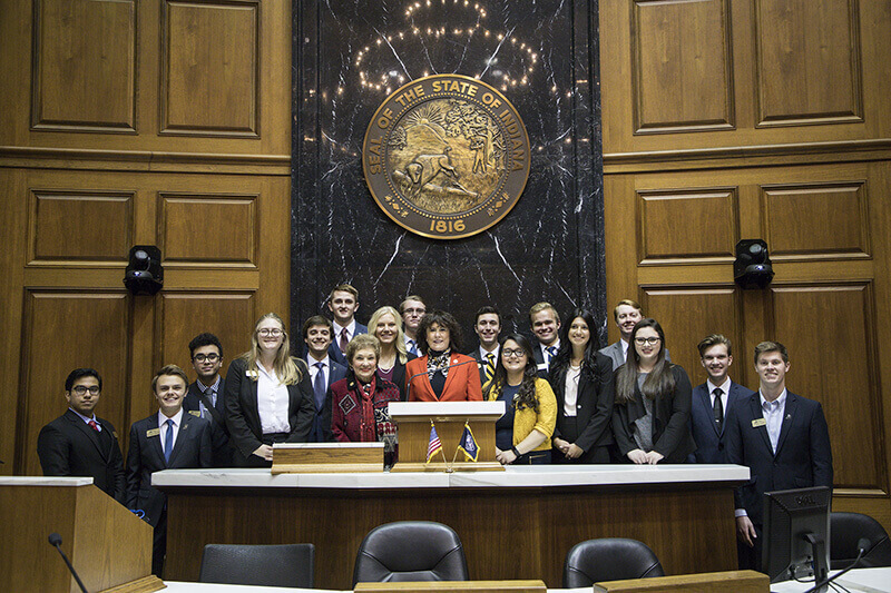 Purdue Student Government members at the Statehouse