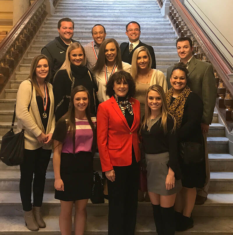 Purdue cheerleading team at the Statehouse